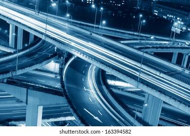 beautiful city interchange overpass at nightfall in shanghai
