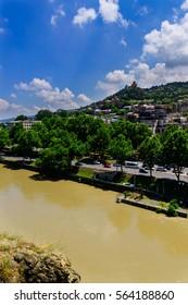 Beautiful city landscape with Kura(Mtkvari) river, Tbilisi, Georgia