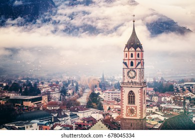 Beautiful city landscape. View of the city of Merano in South Tyrol, Italy