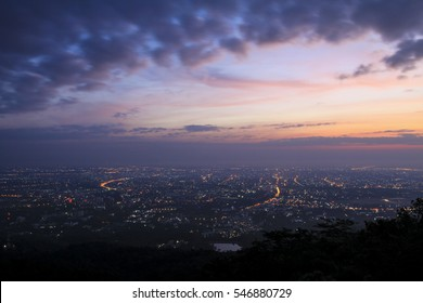 The beautiful city lights with early morning sky in Chiang Mai , Thailand.