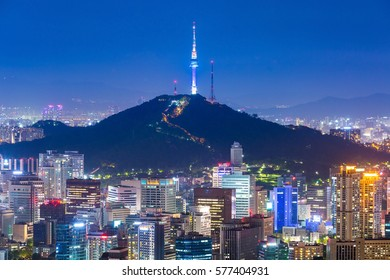 Beautiful city of lights at night. Seoul tower and skyscrapers of Seoul, South Korea.
