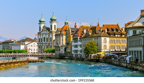 The beautiful city of Lucerne and the Reuss river, Switzerland
