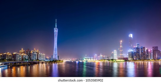 The beautiful city night scene and the skyline of the architect