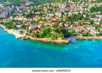 Beautiful city on the sea shore, top view