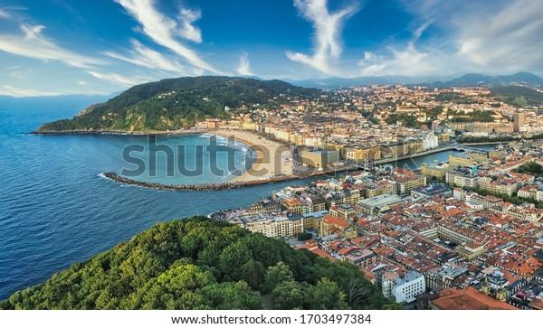 Beautiful city of San Sebastian, Spain. Aerial Photo by Drone