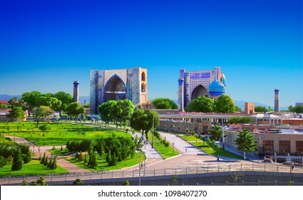 Beautiful city scape - ancient Bibi-Khanym Mosque and green park against the background of blue sky in Samarkand (Samarqand), Uzbekistan. It is one of the foremost interesting place in Central Asia