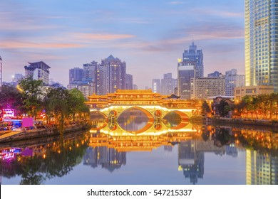Beautiful city scenery of Chengdu, China