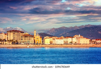 Beautiful city and sea landscape. Ajaccio is the capital of Corsica at sunset, the mountains and the sea, a popular destination for travel in Europe