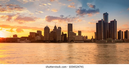 Beautiful city skyline of Detroit city, photos taken from Canadian side, Windsor, Ontario.