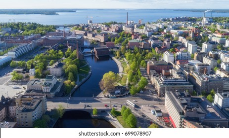 Beautiful city Tampere aerial view