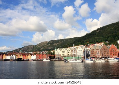 beautiful city view of Bergen, in Norway, holiday resort in summer