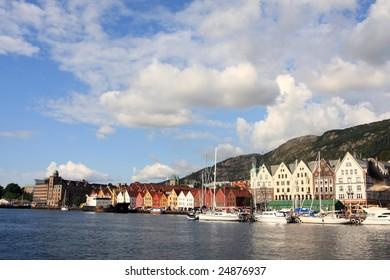 beautiful city view of Bergen city, summer holiday resort