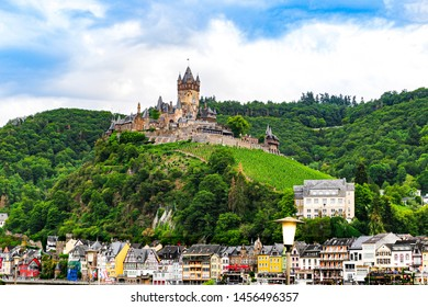 Beautiful city view of Cochem, Germany. Summer landscape view of Reichsburg castle at Cochem city , 20 July 2019
