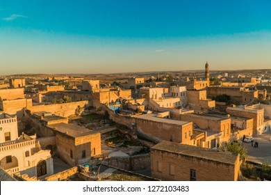 Beautiful city view with Midyat old stone houses located ancient town of Mardin, Turkey.