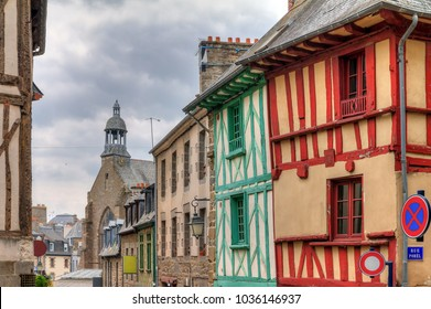 Beautiful cityscape of the ancient traditional houses with wooden beams in Saint-Brieuc, in the Côtes-d'Armor department in Brittany, France