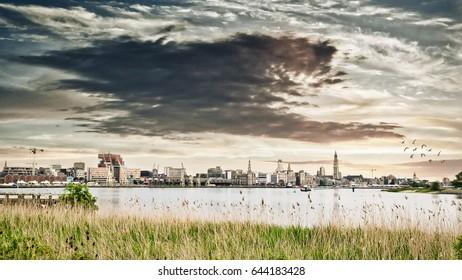 Beautiful cityscape, Antwerp near 'Scheldt river'
