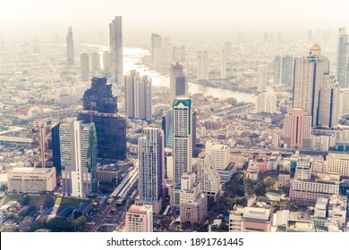Beautiful cityscape with architecture and building in Bangkok Thailand skyline