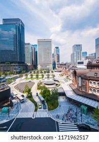 Beautiful cityscape with architecture building and tokyo station in tokyo city japan