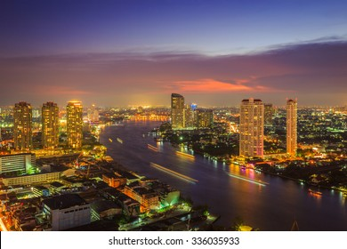 Beautiful cityscape Bangkok business district and residential. In the twilight, Thailand