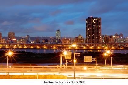 It is a beautiful cityscape of busy interchange.