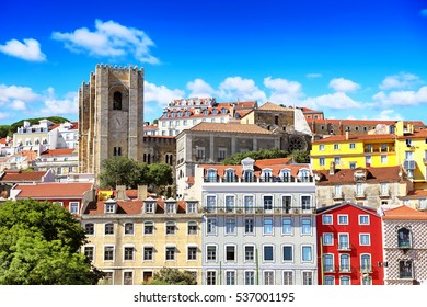 Beautiful cityscape with Cathedral in Lisbon, Alfama. Portugal