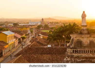 Beautiful cityscape in the golden light of sunset in Granada, Nicaragua, Central America