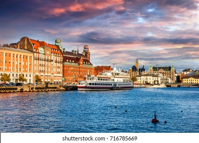 Beautiful cityscape, Malmo Sweden, canal at sunset