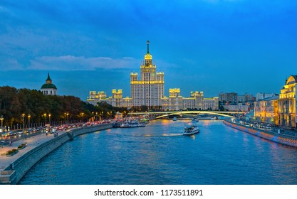 Beautiful cityscape, Moscow at night, the capital of Russia, city lights and reflection in the river