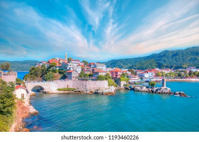 Beautiful cityscape on the mountains over Black-sea, Amasra. Amasra traditional Turkish architecture