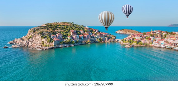 Beautiful cityscape on the mountains over Black-sea, Amasra - Hot air balloon flying over spectacular Amasra
