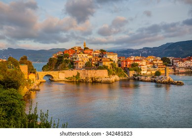 Beautiful cityscape on the mountains over Black-sea, Amasra