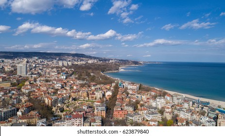 Beautiful cityscape over Varna city, Bulgaria. Panoramic aerial view.