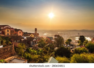Beautiful cityscape panorama of Antananarivo, Madagascar, at sunset