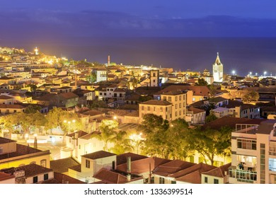 Beautiful cityscape panorama of the city Funchal, on the island Madeira at night in summer