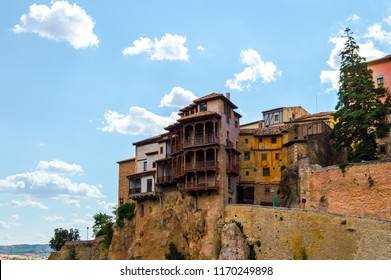 Beautiful cityscape of the picturesque Hanged Houses (Casas Colgadas) in Cuenca, Spain. Curious houses built on the rocks of a cliff.