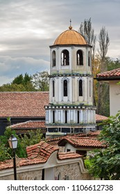 Beautiful cityscape of Plovdiv, Bulgaria, in the medieval part of the city called Old Town, with the belltower of the Church of St Constantine and Helena
