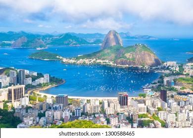 Beautiful cityscape of Rio de Janeiro city with Sugarloaf Mountain and Guanabara Bay - Rio de Janeiro, Brazil