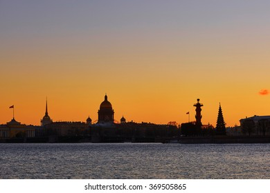 Beautiful cityscape of Saint-Petersburg, Russia on sunset