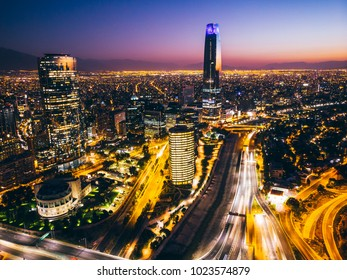Beautiful cityscape of Santiago de Chile at night