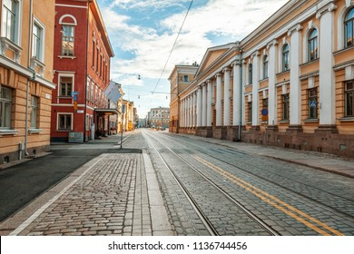 Beautiful cityscape, street in the center of Helsinki, the capital of Finland. Street with paving stones and tram ways. Popular destination for traveling in Northern Europe
