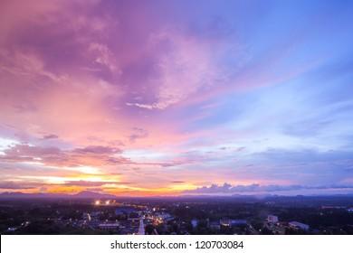 Beautiful Cityscape Sunset at Trang Thailand