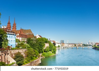 Beautiful cityscape of Swiss Basel at sunny day