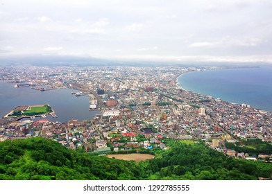 Beautiful cityscape view of Hakodate City view from Mountain Hakodate during daytime.