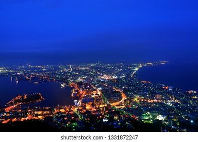 Beautiful cityscape view of Hakodate City from Mountain Hakodate during blue hour,hokkaido,Japan.