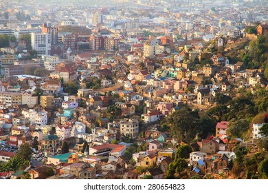 Beautiful cityscape view of the houses in Antananarivo, Madagascar, at sunset
