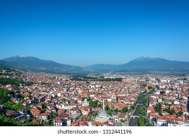 Beautiful cityscape view of Prizren, Kosovo with the Albanian Alps rising in the background