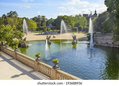 beautiful ciutadella park in the city of barcelona