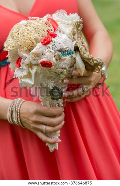 Beautiful Civil Wedding Bouquet Hand Made Royalty Free Stock Image
