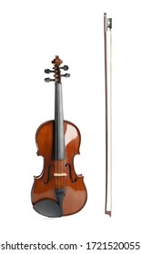 Beautiful classic violin and bow on white background. Musical instrument