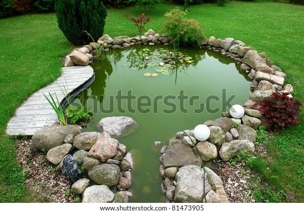Beautiful Classical Design Garden Fish Pond Stock Photo Edit Now 81473905